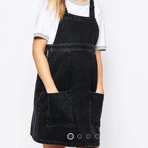 ASOS Denim Jumper Dress - Washed Black